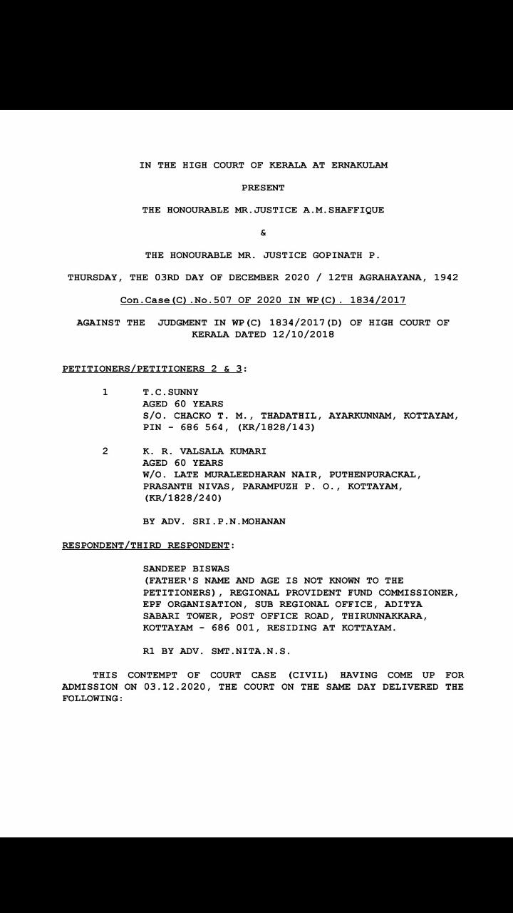 EPS 95 Pensioners Contempt of Court Judgement